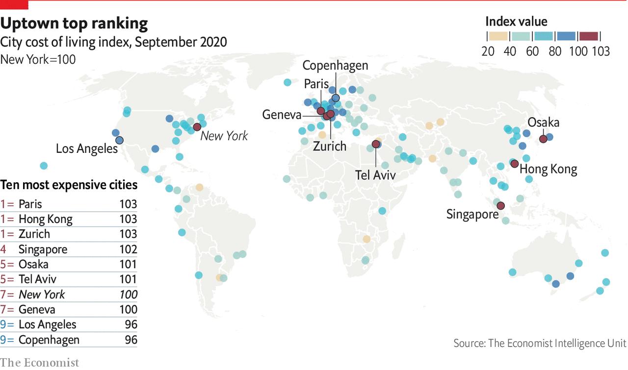 Topul oraşelor cu viaţa cea mai scumpă