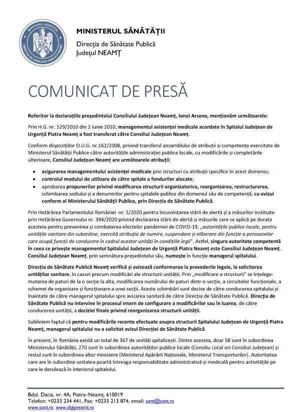 Comunicat DSP Neamţ