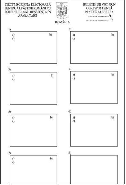 Alegeri parlamentare 2020. Cum arată buletinul de vot prin corespondenţă la alegrile parlamentare din 6 decembrie