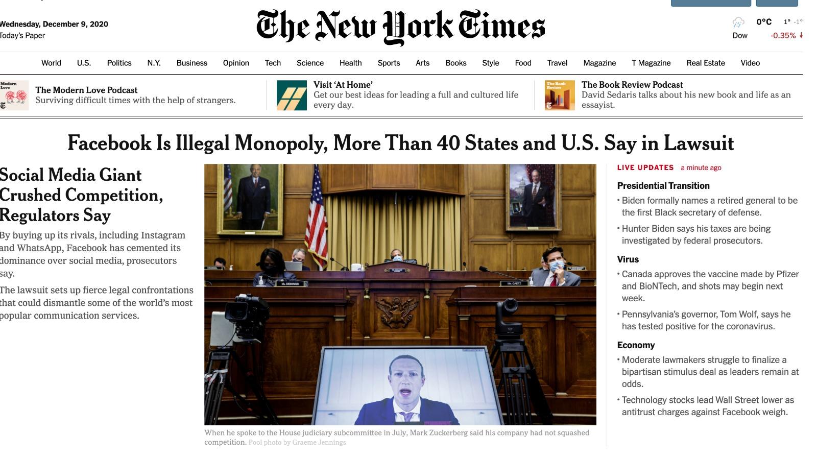 New York Times a anunţat în premieră vestea despre sanţiunea primită de Facebook