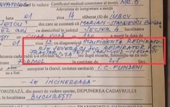 Documentul care arată cauza oficială a morţii lui Bogdan Stanoevici