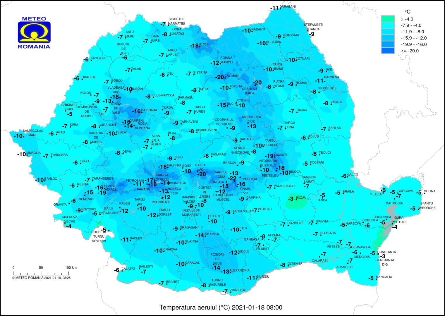Cea mai mică temepratură s-a înregistrat la ora 8 la Vârful Omu, minus 22 de grade