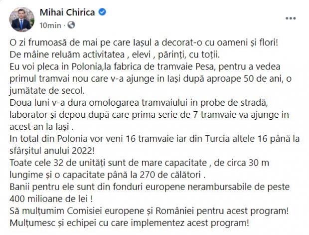 Postarea iniţială a primarului Chirica
