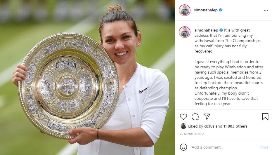 Simona Halep s-a retras şi la turnelul de la Wimbledon: