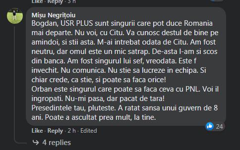 Comentariul lui Mişu Negriţoiu, pe Facebook